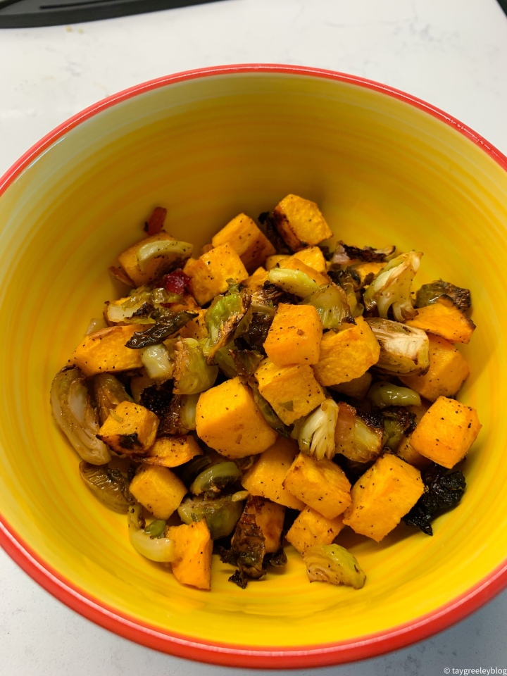 Roasted Brussel Sprout and Sweet PotatoSalad